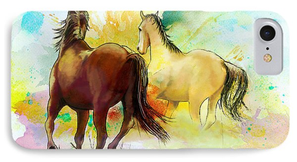 Horse Paintings 009 Phone Case by Catf