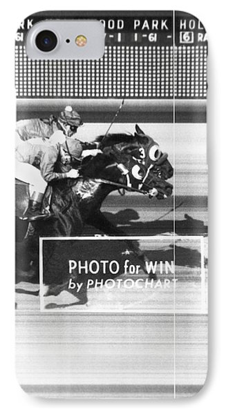 Horse Race Has Photo Finish IPhone Case by Underwood Archives