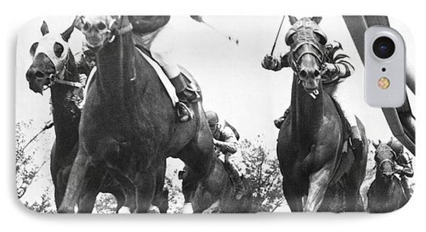 Horse Racing At Aqueduct Track IPhone Case by Underwood Archives