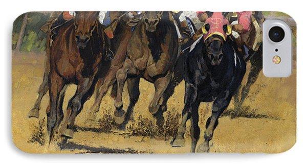 Horse Racing Playfellow IPhone Case by Don  Langeneckert