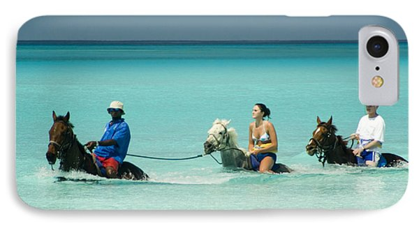 Horse Riders In The Surf Phone Case by David Smith