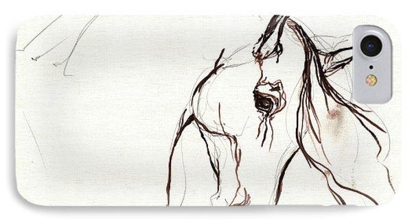 Horse Sketch IPhone Case by Angel  Tarantella