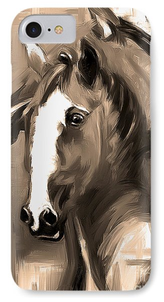 IPhone Case featuring the painting Horse Together 1 Sepia by Go Van Kampen