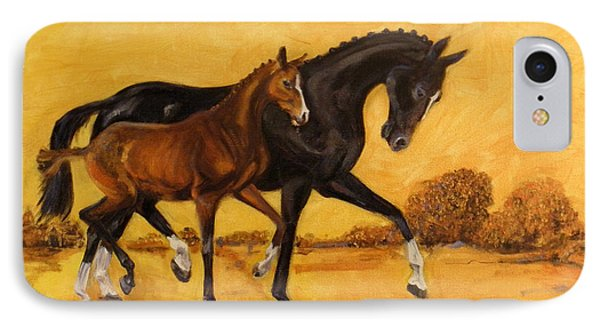 IPhone Case featuring the painting Horse - Together 2 by Go Van Kampen
