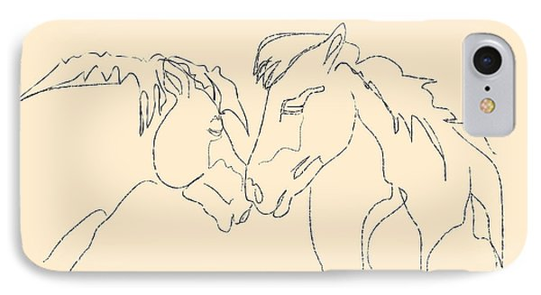 IPhone Case featuring the painting Horse - Together 3 by Go Van Kampen