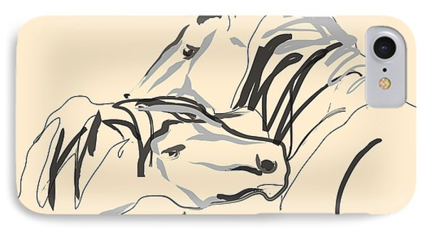 Horse - Together 4 IPhone Case by Go Van Kampen