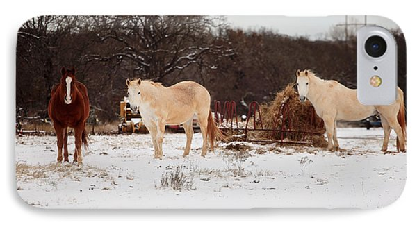 Horse Trio In The Snow IPhone Case by Toni Hopper