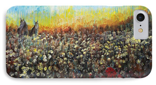 Horses And Dandelions Phone Case by Nik Helbig