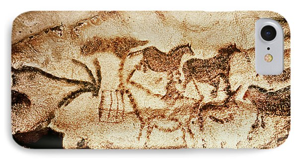 Horses And Deer From The Caves At Altamira, 15000 Bc Cave Painting IPhone Case by Prehistoric