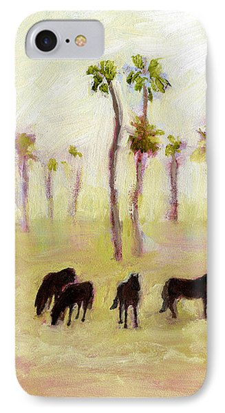 Horses And Palm Trees IPhone Case by J Reifsnyder