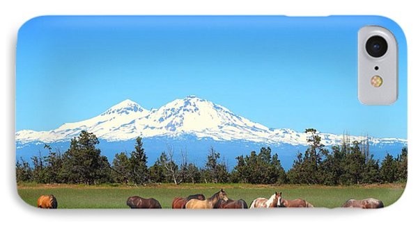 Horses At Sisters Mountain IPhone Case by Lynn Hopwood