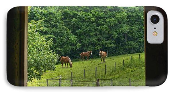 Horses Feeding In Field Phone Case by Dan Friend