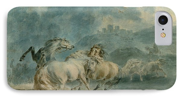 Horses Fighting IPhone Case by Sawrey Gilpin