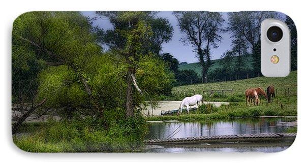 Horses Grazing At Water's Edge IPhone Case by Tom Mc Nemar