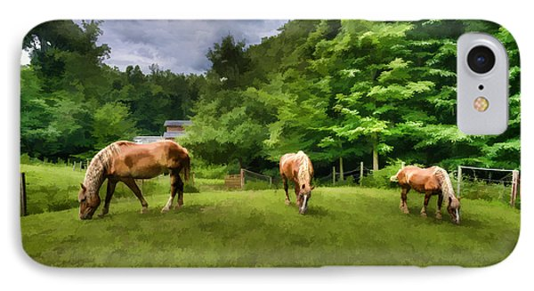 Horses Grazing In Field Phone Case by Dan Friend