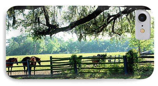 Horses In A Ranch, Hobeau Farms Barn IPhone Case