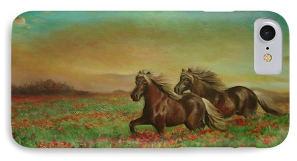 IPhone Case featuring the painting Horses In The Field With Poppies by Sorin Apostolescu