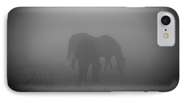 IPhone Case featuring the photograph Horses In The Mist. by Cheryl Baxter