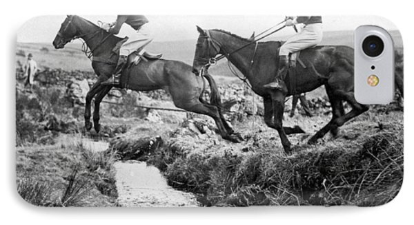 Horses Jumping A Creek IPhone Case by Underwood Archives