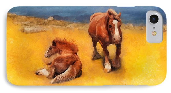 IPhone Case featuring the painting Horses On The Coast Of Brittany by Menega Sabidussi