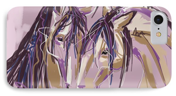 horses Purple pair IPhone Case by Go Van Kampen