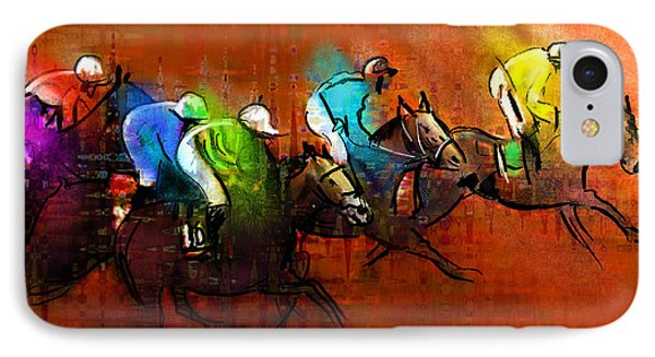 Horses Racing 01 IPhone Case by Miki De Goodaboom