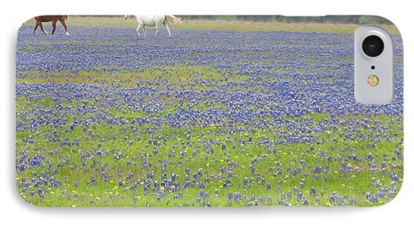 Horses Running In Field Of Bluebonnets IPhone Case by Connie Fox
