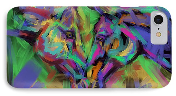 Horses Together In Colour IPhone Case by Go Van Kampen