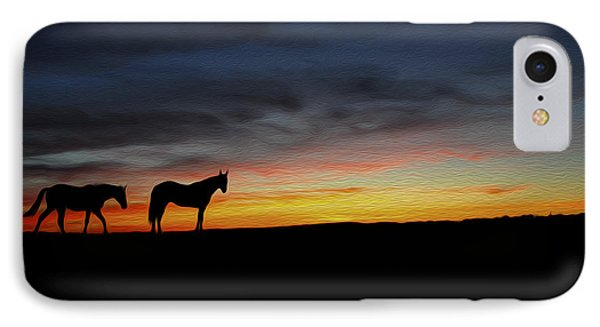 Horses Walking In The Sunset IPhone Case by Aged Pixel