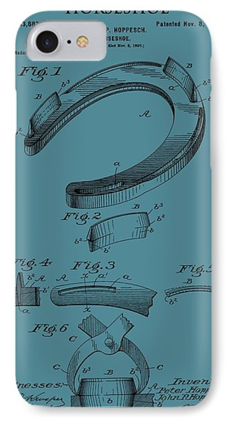 Horseshoe Patent On Blue IPhone Case by Dan Sproul