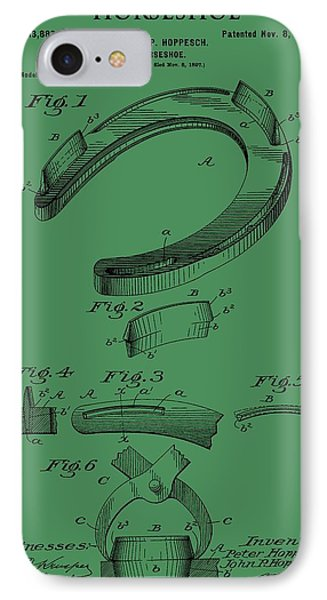 Horseshoe Patent On Green IPhone Case by Dan Sproul