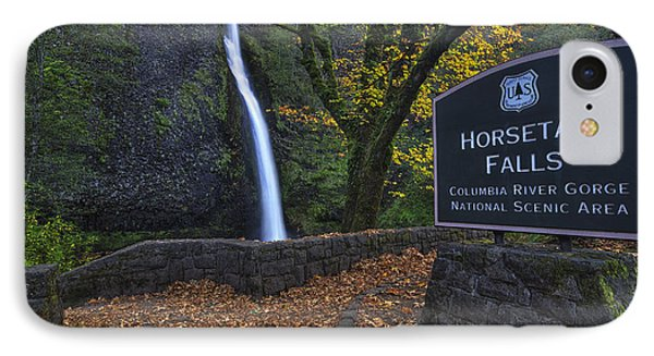Horsetail Falls With Sign IPhone Case