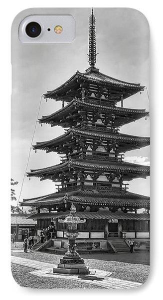 Horyu-ji Temple Pagoda B W - Nara Japan Phone Case by Daniel Hagerman