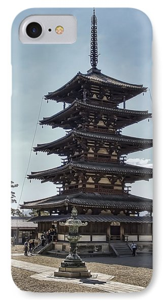 Horyu-ji Temple Pagoda - Nara Japan IPhone Case by Daniel Hagerman