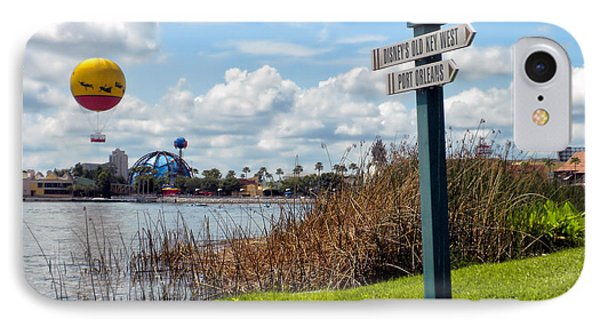 Hot Air Balloon And Old Key West Port Orleans Signage Disney World Phone Case by Thomas Woolworth