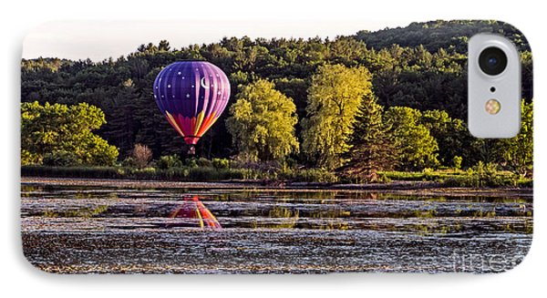 Hot Air Balloon Over Pond IPhone Case by Edward Fielding