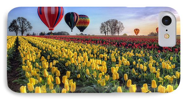 IPhone Case featuring the photograph Hot Air Balloons Over Tulip Fields by William Lee