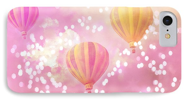 Hot Air Balloons Surreal Dreamy Baby Pink Yellow Hot Air Balloon Art - Child Baby Nursery Room Art IPhone Case by Kathy Fornal