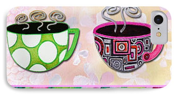 Hot Cuppa Mugs Cups Whimsical Pop Art Tea Party By Romi And Megan IPhone Case