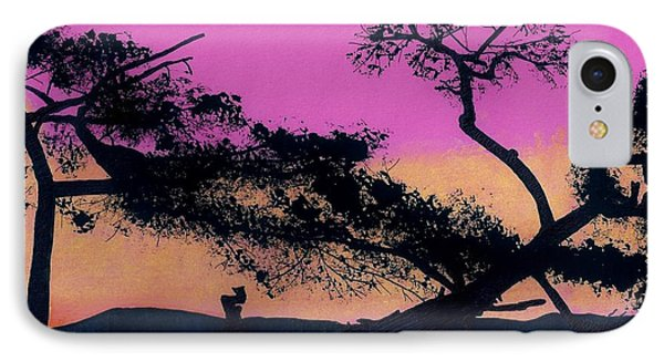 IPhone Case featuring the drawing Hot Pink Sunset by D Hackett