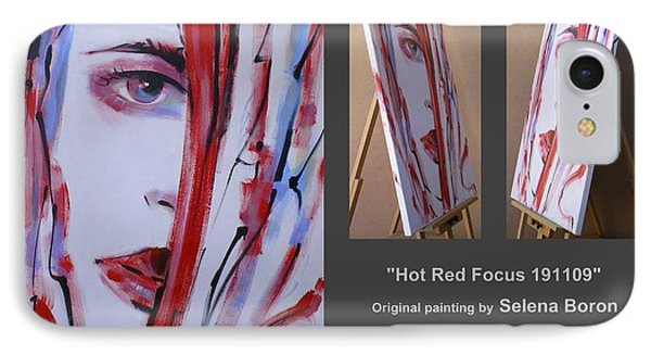 IPhone Case featuring the painting Hot Red Focus 191109 by Selena Boron