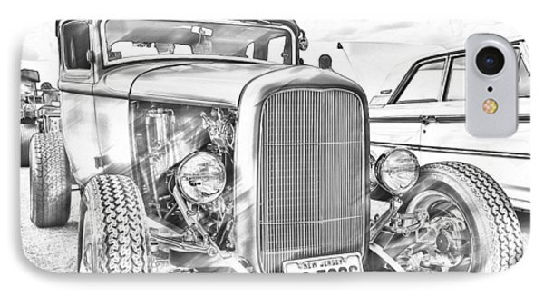 Hot Rod Faux Sketch IPhone Case