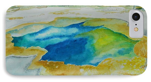 IPhone Case featuring the painting Hot Springs Yellowstone National Park by Geeta Biswas