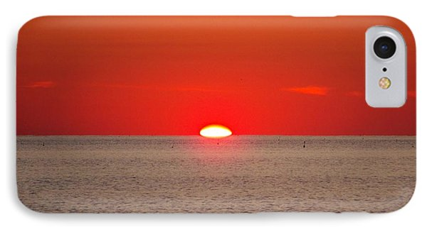 Hot Sun Seems To Melt Into The Sea Phone Case by Eunice Miller