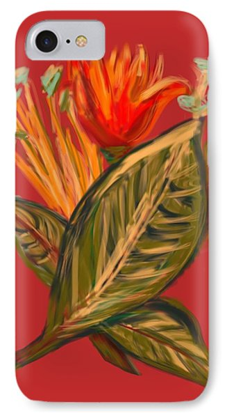 IPhone Case featuring the digital art Hot Tulip R by Christine Fournier