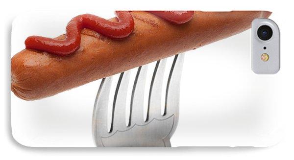 Hotdog Sausage On Fork IPhone Case by Amanda Elwell