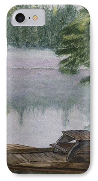 IPhone Case featuring the painting Hotel Lake Resort In Bc by Kelly Mills