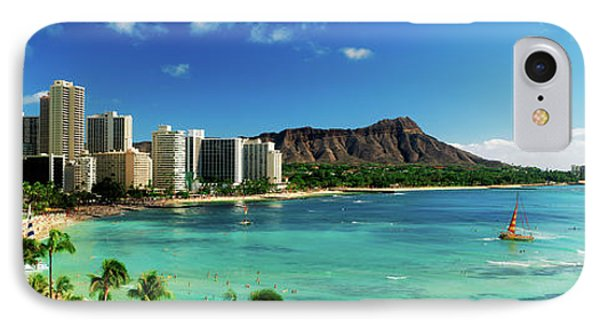 Hotels On The Beach, Waikiki Beach IPhone Case by Panoramic Images
