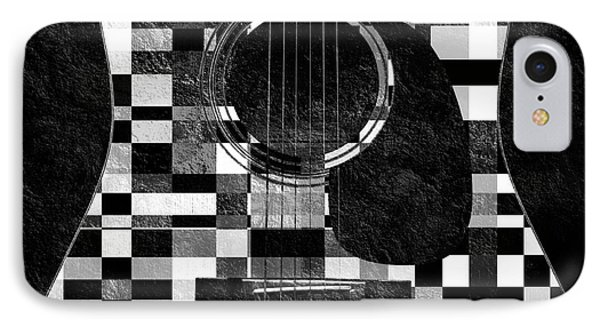 Hour Glass Guitar Random Bw Squares IPhone Case by Andee Design