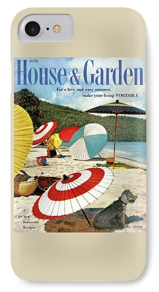 House And Garden Featuring Umbrellas On A Beach IPhone Case by Otto Maya & Jess Brown